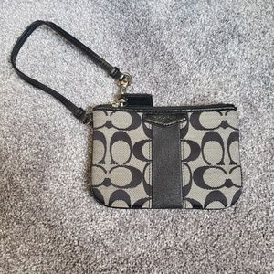 Coach Logo Zipper Grey & Black Wristlet